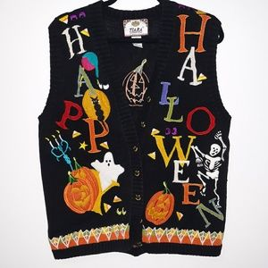 Vintage Ugly Halloween Embroidered Sweater Vest